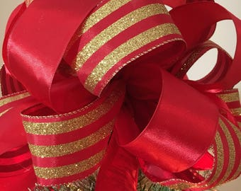 Lg Xmas tree topper red satin and a red with gold glitter stripes ribbon (6 ft. tails)