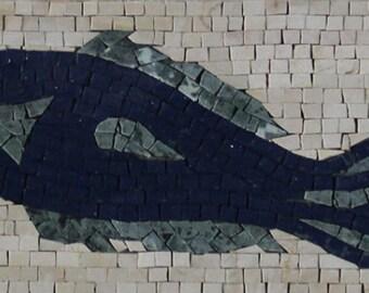 "Blue Fish Rectangular 39""x8"" Fisherman Home Art Marble Mosaic BD1036"