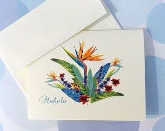 Greeting Cards, Note Cards, Card Set, Stationery, Mahalo, Thank You Card, Tropical Card, Hawaii Card, Set of 8