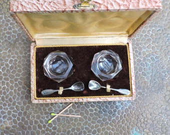 Vintage Cut Glass Salt and Pepper Holders/Server Pots With Two Silver Spoons - 1930s French Condiments Set In Original Presentation Box