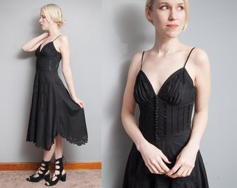 Vintage 1990's I Black | Betsey Johnson | Cotton | Corset Bodice | Spaghetti Strap | Lace Detail | Dress | XS