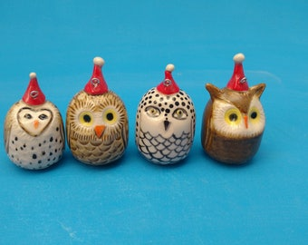Owlet  Collection Ornaments,  4 Owls,  Barn Owl, Snowy Owl, Burrowing Owl and a Great Horned Owl  , Stocking Stuffers, Birders