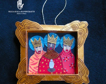 Paper Mixed Media Shadowbox Reinas Ornaments - Red
