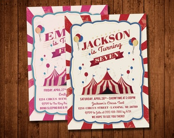 Fun Circus Printable Birthday Party Invitation (Available in Red or Pink!)