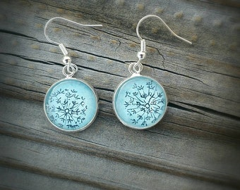 Dandelion or wish flower earrings, hand painted and drawn in Watercolor and ink. silver-plated, solid sterling ear wires or clip-on options!