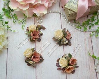 Wedding hair pin Bridesmaid hair pin Flowers for hair Wedding flower pins Flower girl hair pin bridal Flower hair accessory Flower hair pin
