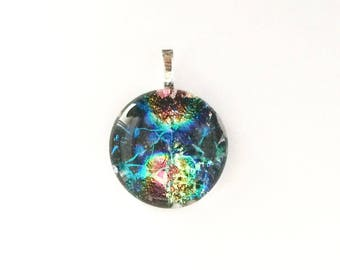 """Fused Dichroic Glass Pendant, Layered Mosaic Design, 1 1/2"""" Circle Cabochon, Cab, Gold, Green, Blue, Black, Turquoise, Pink Jewelry"""