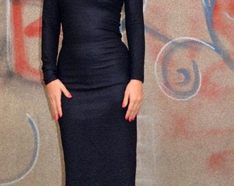 Midi Bodycon Dress/ Special Snake Skin Texture Fabric/Stylish Minimalist Dress