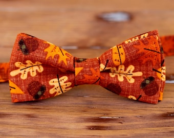 Boys Bow Tie - boys fall leaf cotton bowtie, bow tie for little boy, infant bow tie, thanksgiving bow tie, toddler tie, preteen, fall tie