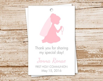 PRINTABLE personalized first holy communion tags for girls . gift tags . favor tags . color choices . YOU PRINT