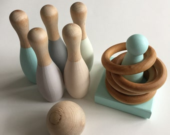 Wood Toys, Bowling Set, Toddler toys, Gifts for Toddlers, Wood Bowling Set, Wood Skittles, Montessori Toy, Toddler toys, Wooden