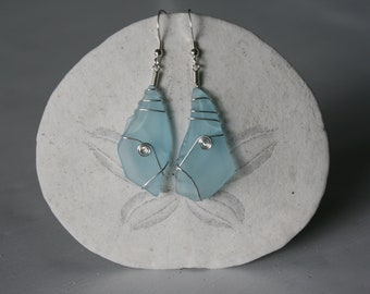 Blue Recycled Glass Earrings with Sterling Silver