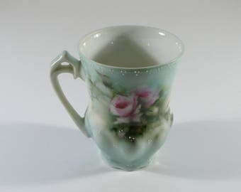 Vintage Pink Roses Espresso Cup, Demitasse, Hand Painted, Tea Party