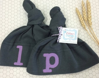 Personalized Twin Baby Hats -  FREE Shipping - American Apparel Knot Hat with Embroidered Monogram Applique - YOU CHOOSE 2 Hats