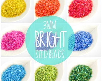 3mm Bright Seed Beads/ 10g a pack