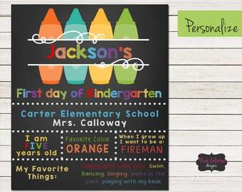 Digital, Chalkboard School Sign, Chalkboard Kindergarten Sign, First Day of School Chalkboard SIgn, Chalkboard Sign, School Sign, First Day