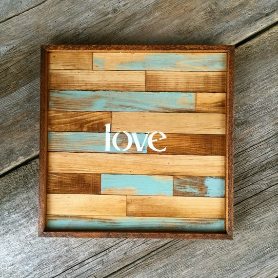 Pieced Wood Wall Art Love Sign Boho Inspired Wall Decor