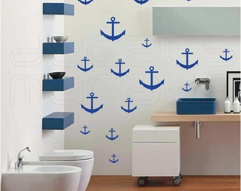 Wall decals 15 ANCHORS Nautical decorative surface graphics by Decals Murals