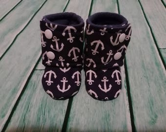6-9 Months Baby Booties - Anchors