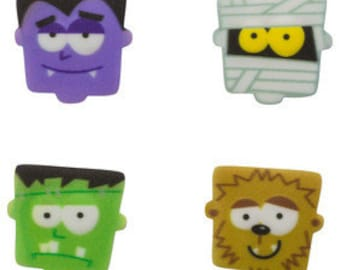 MONSTER FACES SUGARSOFT Edible Decorations 12 Pieces!