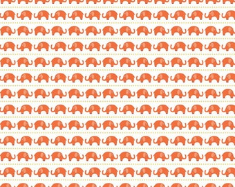 Jersey Fabric, Jersey Knit fabric, Stretch KNIT fabric, Orange fabric, Legging fabric, Stretch fabric- Elephant fabric in Orange