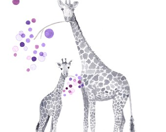 Giraffe Nursery Art - Baby Nursery Art - Watercolor Giraffe Print - Baby Nursery Decor - Pink and Gray Nursery Art - Nursery Art - G827N