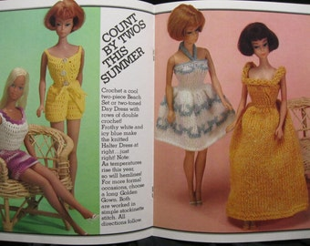 Barbie Knit and Crochet book, Fashion Doll Wardrobe, 16 lovely outfits for winter, spring, summer and fall, a McCall's Craft book, CB/8103