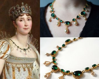 Empress Josephine Emerald Necklace, 19th Century Jewelry, Historical Jewelry, Reproduction Necklace, Georgian Paste Necklace, Riviere Green