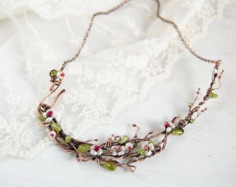 Twig necklace Romantic jewelry Floral blooming almond tree branch choker necklace unique one of a kind women gift