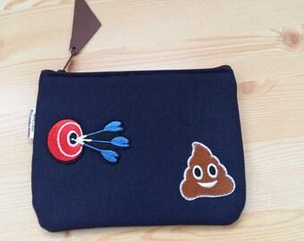 Denim purse,denim coin purse,patches denim,denim change purse,poop purse,emoji coin purse,patches bag,denim patches,zippered pouch