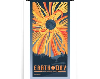 2017 - Solar Eclipse - Earth Day - NASA - 24x36 - Poster - Wall Art