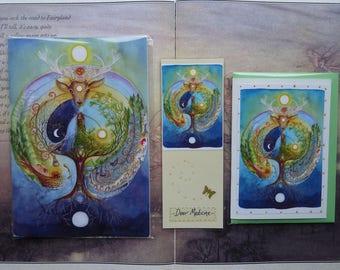 Deer Medicine Notebook, Handmade Bookmark and Card Gift Set