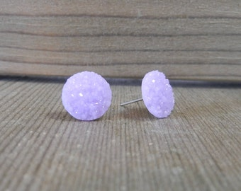 Pastel Purple Sparkle Druzy Earrings - 12mm on Stainless Steel Posts.