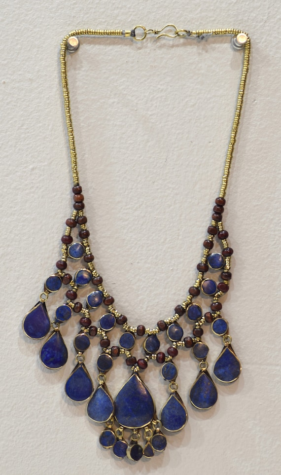 """Necklace Middle East Lapis Stone Silver Tribal Necklace 24"""""""