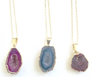 CLEARANCE Agate Druzy Necklace 14k Gold Electroplated Pink Blue Red