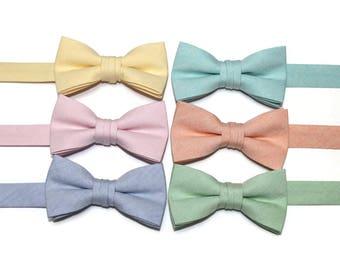 Boys Chambray Bow Tie~Boys Bow Tie~Wedding Tie~HoBo Ties~Easter Bow Tie~Boys Gift~Wedding Bow Tie~Pastel Chambray~Peach Bow Tie~Mint Bow Tie