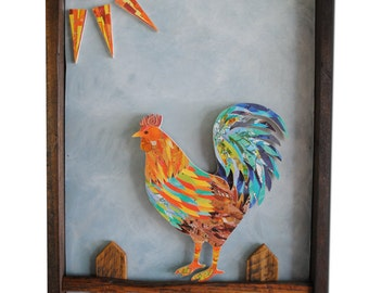 Reclaimed Wood Wall Art -- Rooster Paper Cut