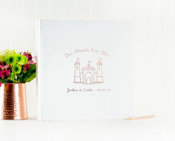 Wedding Guest Book Rose Gold wedding guestbook Fairy Tale Wedding photo book instant photo booth guest sign in photo guest book castle pink