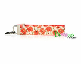 Beautiful poppies wrist key chain key fob