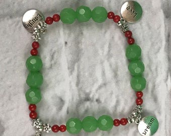 Inspirational, Laugh, Live, Love, Dream, Green And Red Beaded Stretch Bracelet New