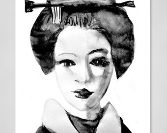 Japanese geisha smiling, Art print limited edition, Young Vintage Geisha, Asian women, contemporary asian art, Alex Solodov
