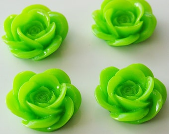 18mm Resin Rose Flower Cabochons6 Pieces - LCRB072Y
