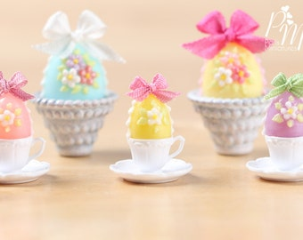 Candy Easter Egg Decorated with Blossoms in Egg Cup - Yellow Egg - Miniature Food in 12th Scale
