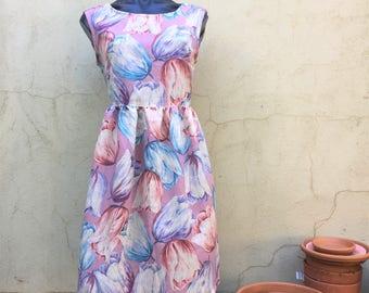 Floral dress. floral long dress. Summer nights dress. Flower print. Florals. Slow fashion. Handmade using second hand fabric dress.