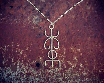 Eco Sterling Silver Rune Stave Pendant & Necklace