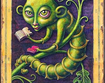 Teacher gift-- bookworm art print 5x10, Voracious: Fantasy green book worm, books, botanical art. Librarian, reader, student, back to school