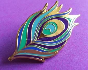 Peacock Feather Enamel Pin, Pin Badge, Hard Enamel Pin, Flair, Lapel Pin, Brooch, Button, Pin Game, Enamel Badge, Feather Accessories