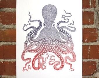 Octopus- Letterpress- 11x14