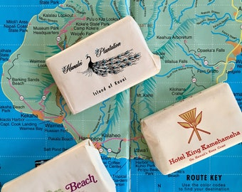 Vintage 1950s / 1960s Hawaii Island Hotel Souvenir Soaps Set of 3