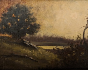 Landscape with sunset - Original oil painting on canvas